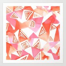 Geo Triangle Peach Art Print