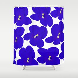 Blue Retro Flowers Shower Curtain