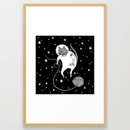 Space Cat Proves String Theory Exists Framed Art Print
