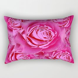 Pink Roses on Pink Roses Purple Fuchsia Flowers Art Design Rectangular Pillow