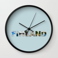 finland Wall Clocks featuring Finland by Valeria Marelli