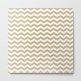 Gold and White Christmas Wavy Chevron Stripes Metal Print
