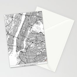New York City Neutral Map Art Print Stationery Cards