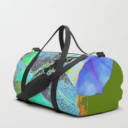 BLUE DRAGONFLIES MORNING GLORY GREEN ART Duffle Bag