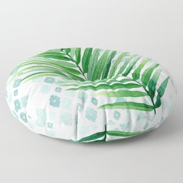 Tropical Palm Frond Watercolor Painting Floor Pillow