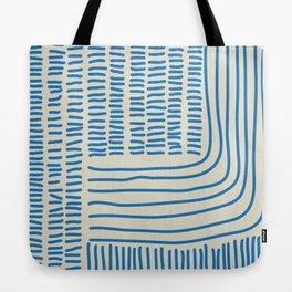 Digital Stitches thick beige + blue Tote Bag