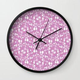 Violet Purple Floral Pattern Wall Clock