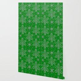 DP044-12 Silver snowflakes on green Wallpaper