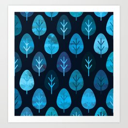 Watercolor Forest Pattern Art Print