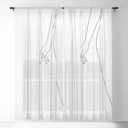 Female body hand line drawing Sheer Curtain