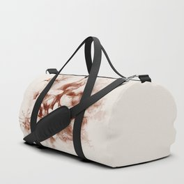 Sepia toned tropical flowers and butterflies Duffle Bag