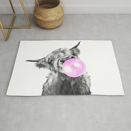 Bubble Gum Highland Cow Black and White Rug