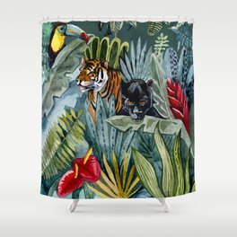 Jungle with tiger and tucan Shower Curtain