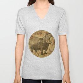 Vintage retro Hippo wildlife animal africa Unisex V-Neck