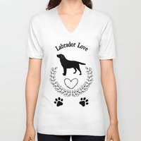labrador V-neck T-shirts featuring Labrador Love by naturessol