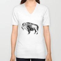 bison V-neck T-shirts featuring Bison by Jade Antoine