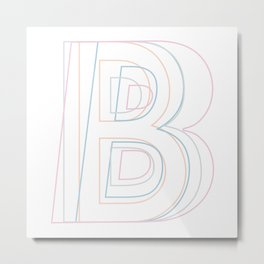 Intertwined Strength and Elegance of the Letter B Metal Print