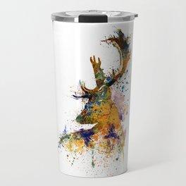 Deer Head Watercolor Silhouette Travel Mug