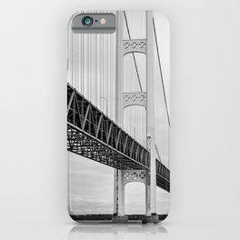 Mackinac Bridge, black and white photography iPhone Case