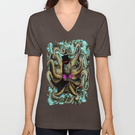 Steampunk Octopus with Patterned Back ground  Unisex V-Neck
