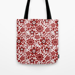 Graphic Flowers Red Tote Bag