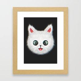 Fluffy cute white cat (solo) Framed Art Print