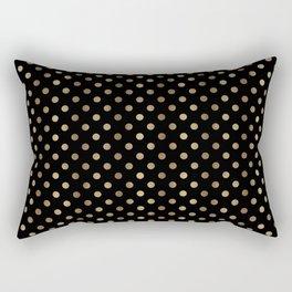 Gold & Black Polka Dots Rectangular Pillow