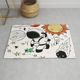 astronaut drawing planet Rug