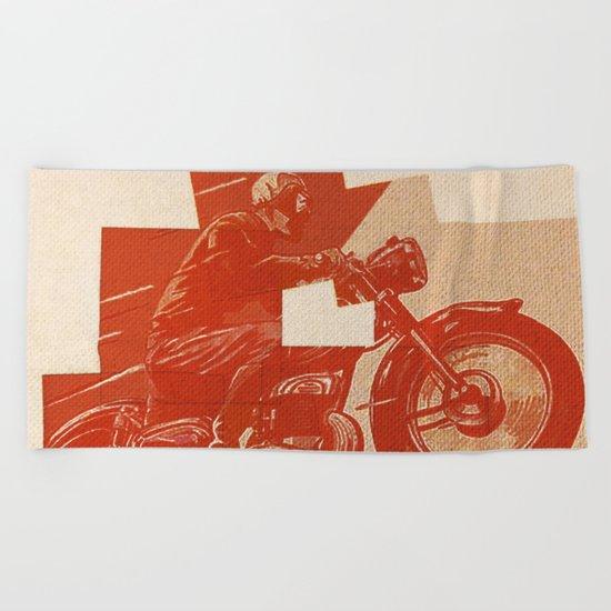 Motorcycle Race II Beach Towel