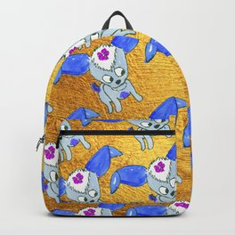 Blue Chica on Gold Backpack