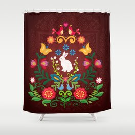 Bunny Of The Flowers Shower Curtain