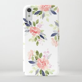 Peach & Nvy Watercolor Flowers iPhone Case