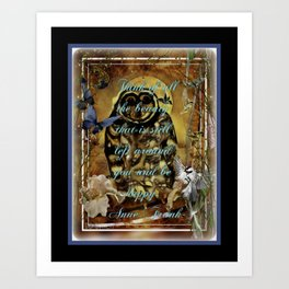 Owl and Quote From The Past Art Print