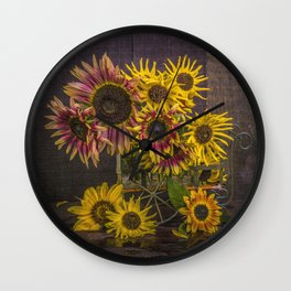 Old Sunflowers Wall Clock