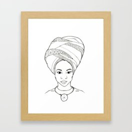 Beautiful African woman with head wrap Framed Art Print
