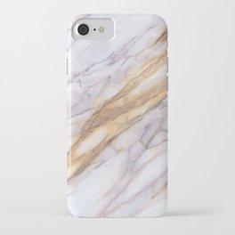 White & Gold Marble Pattern iPhone Case