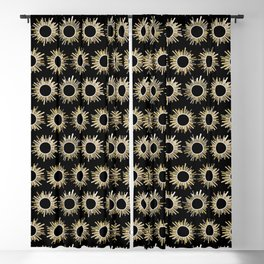 Art Deco Starburst in Black Blackout Curtain