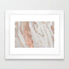 Marble - Rose Gold Shimmery Marble Framed Art Print