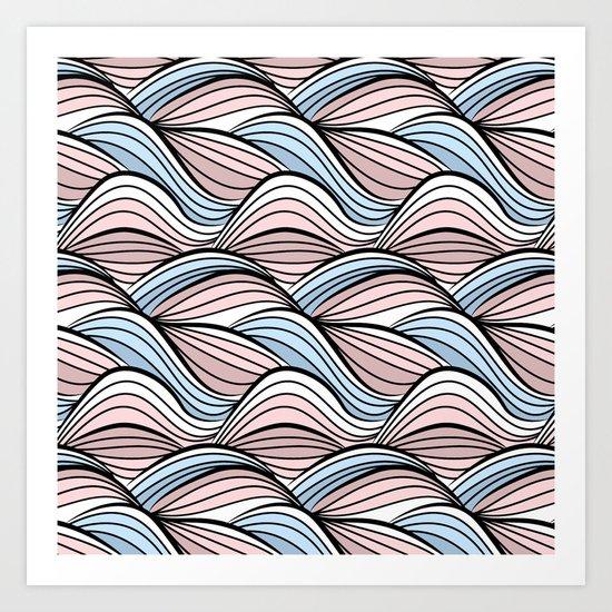 Thread pink blue Art Print