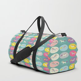 Cute Unicorn polka dots teal pastel colors and linen texture #homedecor #apparel #stationary #kids Duffle Bag