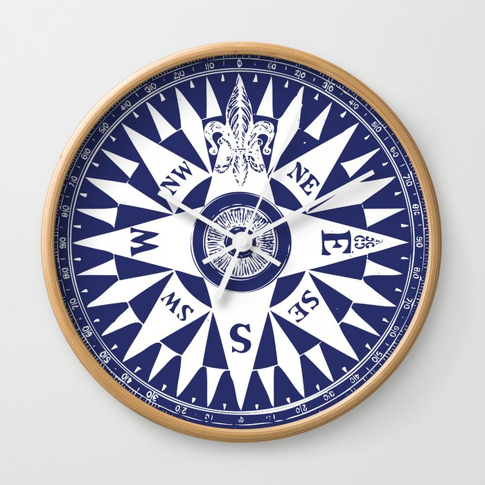 Nautical Comp Vintage Navy Blue And White Wall Clock By Eclecticatheart