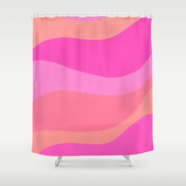 Pink Groovy Waves Shower Curtain