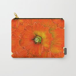 ORANGE DOUBLE  HOLLYHOCK FLOWERS YELLOW GARDEN Carry-All Pouch