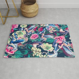 Unicorn and Floral Pattern Rug