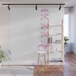 Laced Pink Ribbon on White Wall Mural