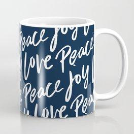 Peace Love Joy Christmas Pattern Coffee Mug