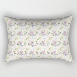 Roses & Forget Me Nots Polka Dots Yellow Rectangular Pillow