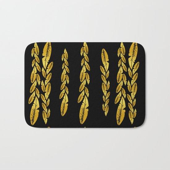 Gold feathers Bath Mat