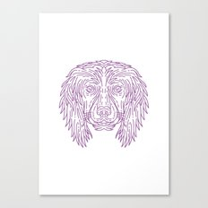 English Cocker Spaniel Dog Head Mono Line Canvas Print
