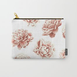 Rose Garden Vintage Rose Pink Cream and White Carry-All Pouch